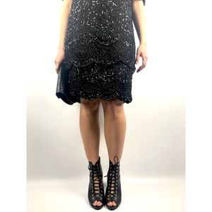 Vintage black silk beaded flapper dress
